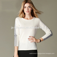 100% Cashmere Pullover Sweater Round Neck Long Sleeve Color Combination For Women