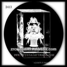 Paniers de fleur de laser de K9 3D à l'intérieur du rectangle en cristal