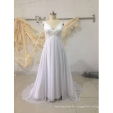 Pure White Plus Size Chiffon Beach Wedding Dress Bridal Gown