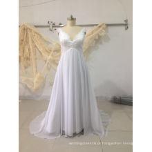Pure White Plus Size Chiffon vestido de noiva vestido de noiva