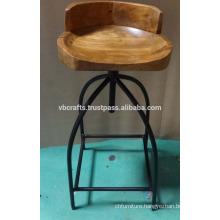 Industrial Design Bar Chair Wooden Seat