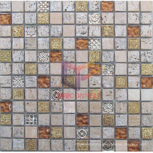 Brick Red Glass with Resin Mosaic (CSR063)