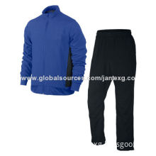 Best selling casual sport suits for men, blue/black jacket & black pants, windproof and comfortable