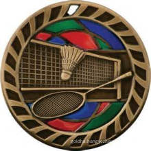China Cheap Custom Rope Edge Antique Bronze Enamel Souvenir Badminton Medal