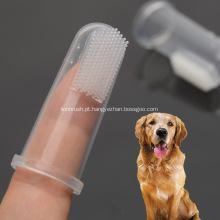 Escova de dente de dedo de animal de estimação escova macia transparente de silicone