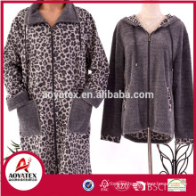 Animal design zipper microfiber coral fleece hooded bathrobe