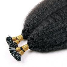 Qualité supérieure couleur naturelle 1g brins extension de cheveux indiens 100 % kinky directement cheveux pointe U en vente