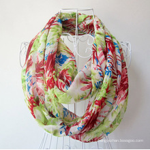 Woman Fashion Flower Printed Chiffon Infinity Spring Scarf (YKY1100)