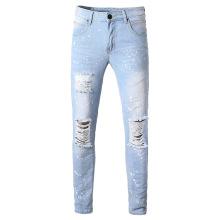 Jeans masculinos com respingos de tinta rasgada atacado