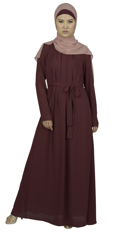 Muslim Long Tunic Wine Red Dress