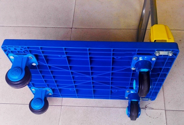 150kg Blue Noiseless-Platform Hand Truck Folding Plastic dolly