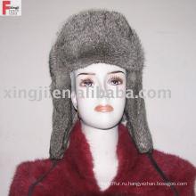 русский мех шляпа полный мех натуральный серый цвет шиншилла мех кролика шляпа