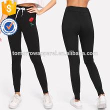 Apliques de rosa preta Drawstring calças skinny OEM / ODM fabricação atacado moda feminina vestuário (TA7021L)