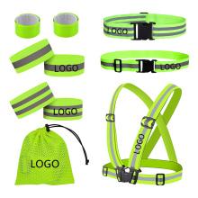 Full Set High Visibility Reflective Safety Vest Elastic Adjustable Bands Set Running Sash Sport Gear Pack Custom Logo