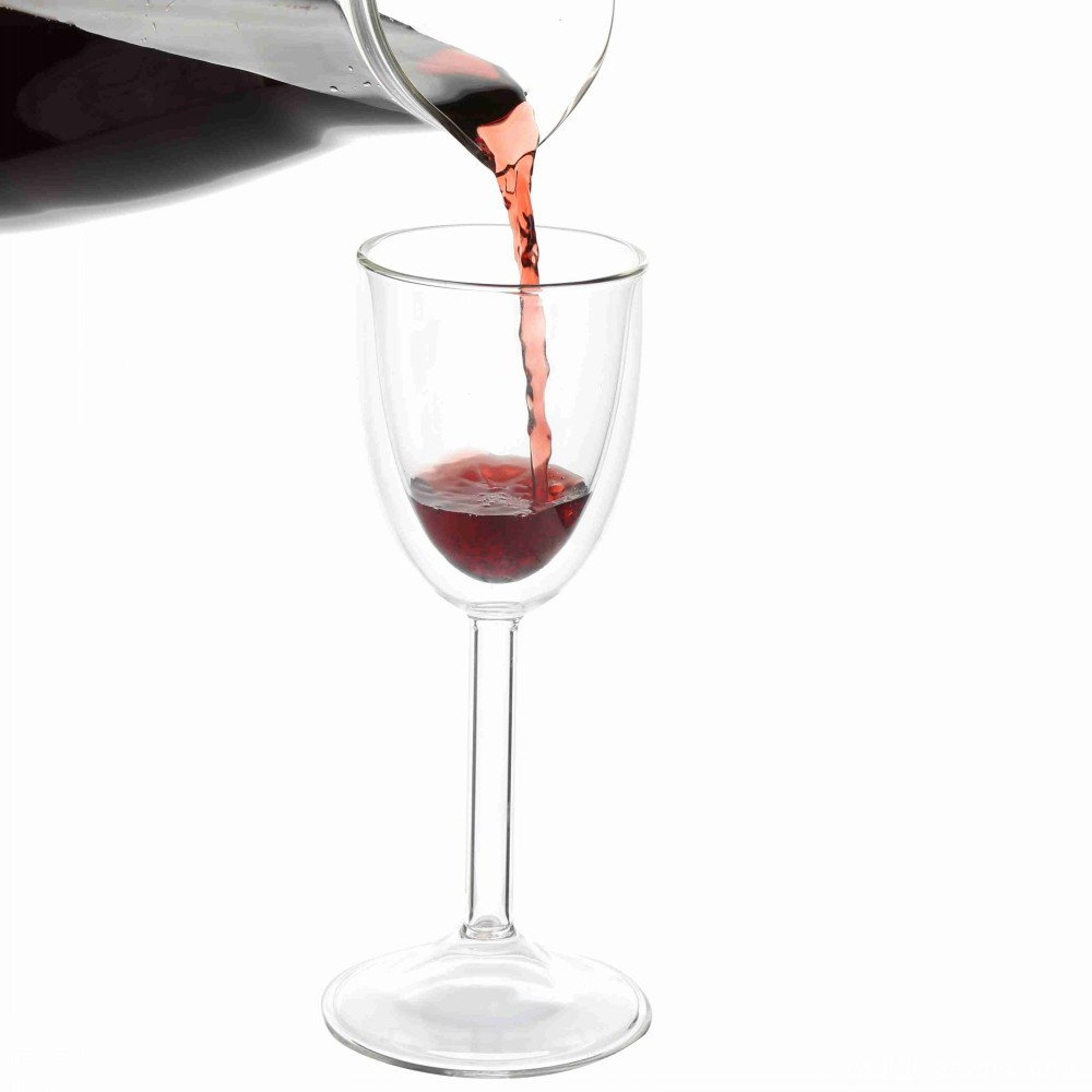 Drinking Double Glass Red Wine Cup
