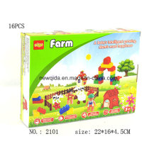Plastic Preschool Building Farm Block Toy with Colorful Package