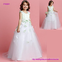 New Arrival Flower Girls Dress with 3D Flowers Modern Style Party Dress