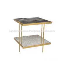 Industrial Marble and Metal 2 Tier Coffee Table