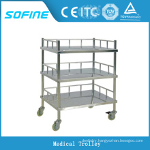 SF-DJ137 3-tier stainless steel hospital trolley