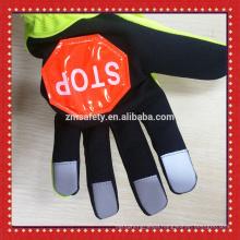 Hi Viz Reflective Gloves With STOP Sign Traffic Police Gloves