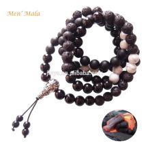 Mens Mala Contas, 108 Natural Black Lava Onyx Pedra Mens Mala Colar Talão, Yoga Mens Mala Jóias