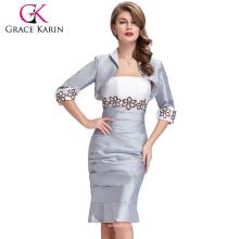 Grace Karin Reife Damen Zwei Stücke Grau Langarm Plus Size Abendkleid Mit Jacke CL6266
