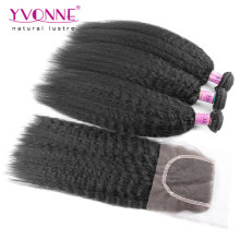 Kinky Straight Brazilian Hair Bundles with Lace Closure