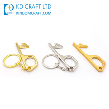 High Demand Custom Metal Hygienic Antimicrobial Clean Stylus and No Touch Brass Hands Free Door Opener Keychain for Sale