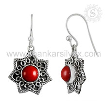 Imperious reddish coral gemstone jewelry 925 sterling silver earring indian silver jewelry wholesaler