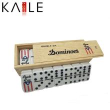 Двойной шесть Домино в деревянной коробке играть с друзьями