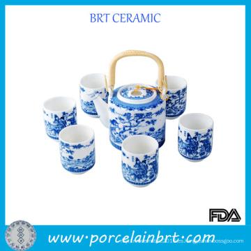 Juego de té de porcelana de pintura tradicional