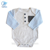 Wholesale Baby Boys Clothes Stripe Long Sleeve Baby Bodysuit With Pocket