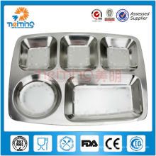 children rectangle stainless steel divided plate with many grids