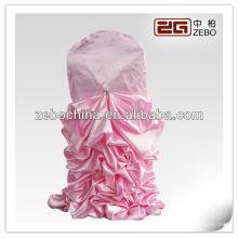 Hot vender design direto fábrica feita cetim atacado cetim ruffled casamento cadeira cobertura