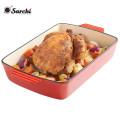 Revestimiento esmaltado rojo Cocción de utensilios de cocina Plato de hierro fundido Plato de asar de pan