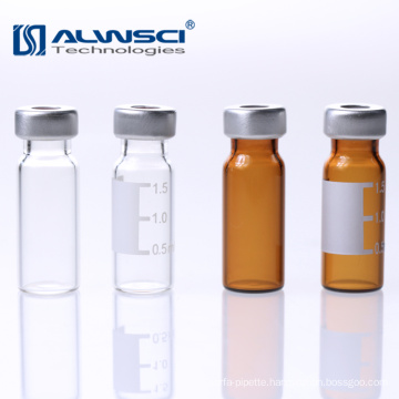 Customized 11mm Lab Crimp hplc autosampler glass vial 1.5ml with lable