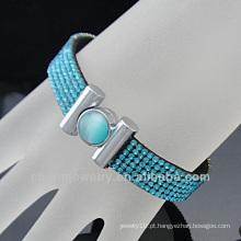 Venda quente Stunning 6 Bracelete de cristal da fileira Novo