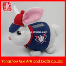 2015 enfants jouets en peluche boîte d'argent lapin en forme de pièce banque tirelire sur mesure boîte d'économie d'argent
