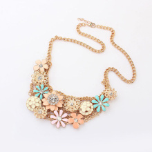 Gold chain enamel metal flower sweet pretty girl necklaces new design hot selling choker wholesale