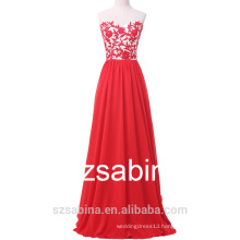 2016 A-line evening dress red sleeveless evening dress