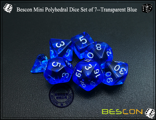 Bescon Mini Polyhedral Dice Set of 7--Transparent Blue-4