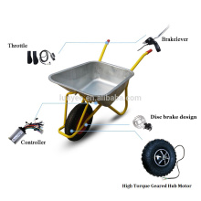 "New Fat Off-road Rough Tyre Design 14.5"" Electric Wheelbarrow Gear Motor 24v 36v All Terrain Electric Wheelbarrow kit"