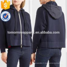 Navy Jersey en coton et Shell à capuche Top OEM / ODM Fabrication en gros de mode femmes vêtements (TA7018H)