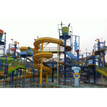 Water Playground Equipment With Fiberglass Spiral Water Slide , Water Amusement Park