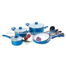 Cookware 8pc Set, Aluminum Blue/Black/Red w/3pc Nylon Turner Pot PanNew
