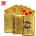 Cartões de jogo chapeados impermeáveis do póquer do póquer do luxo 24K de ouro com caixa de madeira