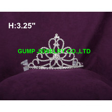 Corona de la tiara del cristal del diseño floral