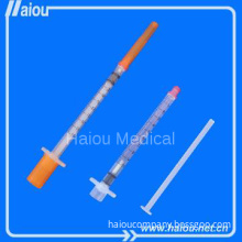 1ml disposable safety insulin syringe with fixed needle for diabetes
