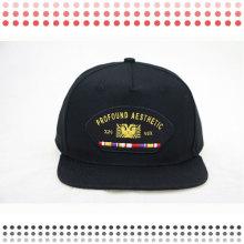Chapéus do Snapback do bordado 3D com borda de couro
