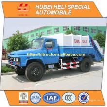 DONGFENG 4x2 8cbm camión de basura trasero del cargador con la venta caliente del mecanismo 140hp del presionado para la exportación